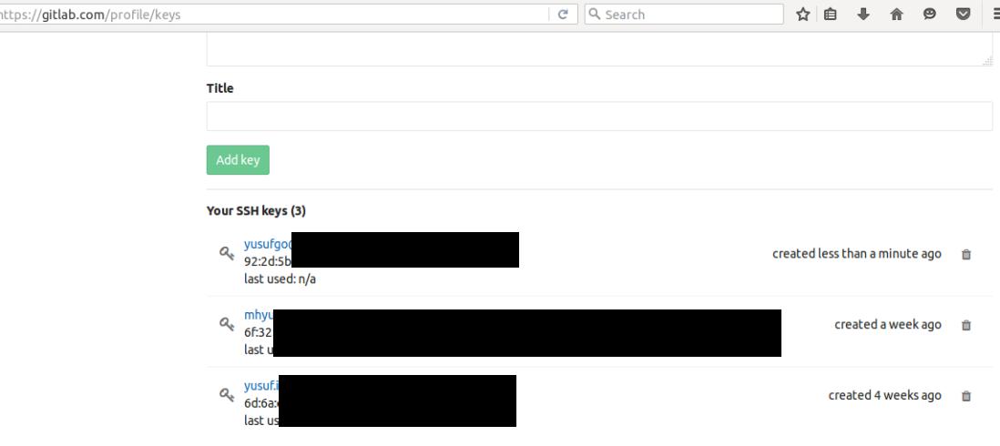GitLab SSH Pub key